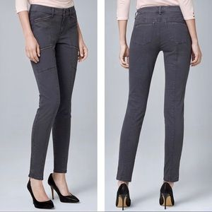 WHBM Embellished Skinny Ankle Pants Ankle Zip Gray